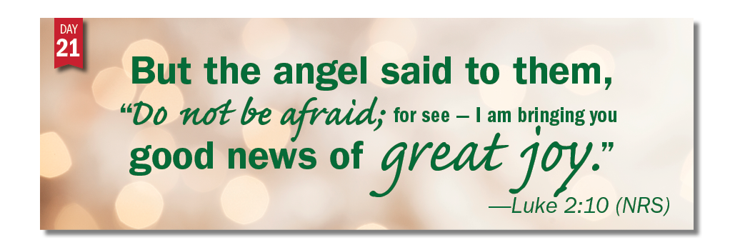"Advent in Action Day 21: But the angel said to them, ""Do not be afraid; for see  –  I am bringing you good news of great joy."""