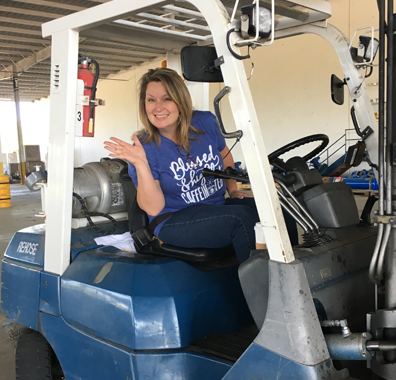 Laurie Holleway volunteers her time to assist with disaster recovery efforts in the Houston area.
