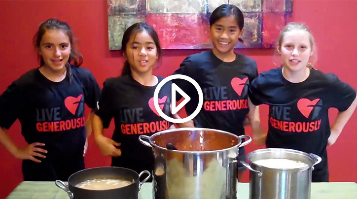 See how a group of 10-year-old chefs learned how to serve up generosity.