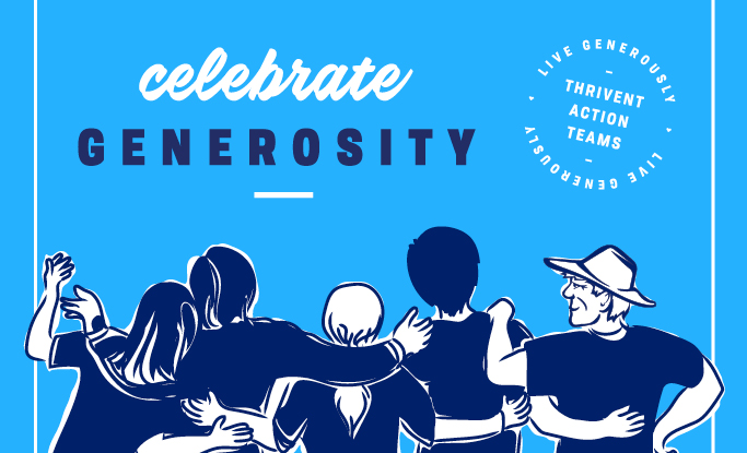 Celebrate generosity group with arms around each other