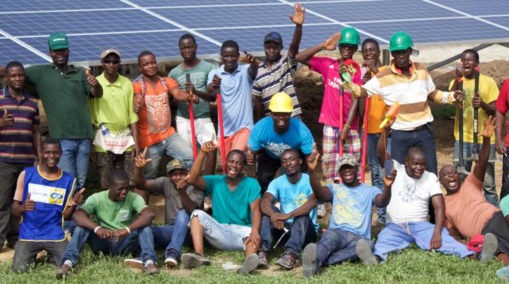 A group of workers in Liberia who installed a solar microgrid at Phebe Hospital