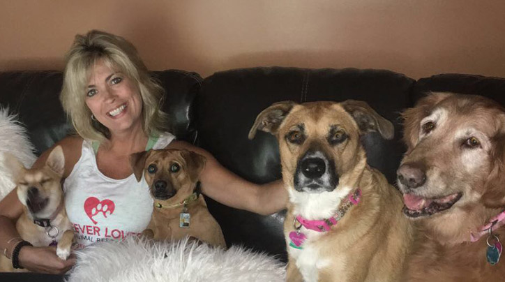 Bridget Vargas, founder of nonprofit Forever Loved, with her dogs