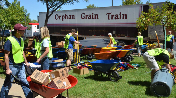 Volunteers for the Orphan Grain Train.